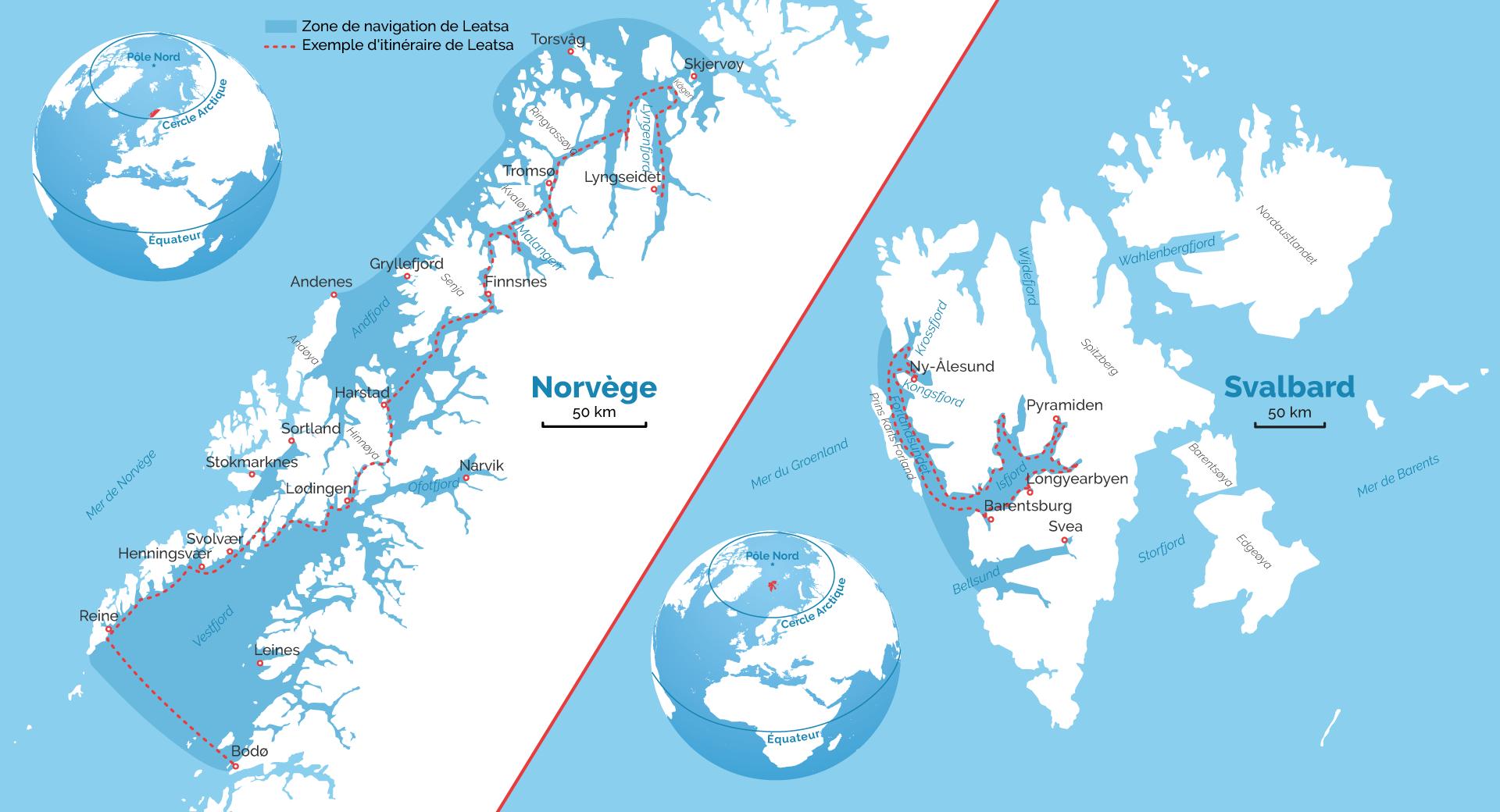 Carte de la Norvège et du Svalbard